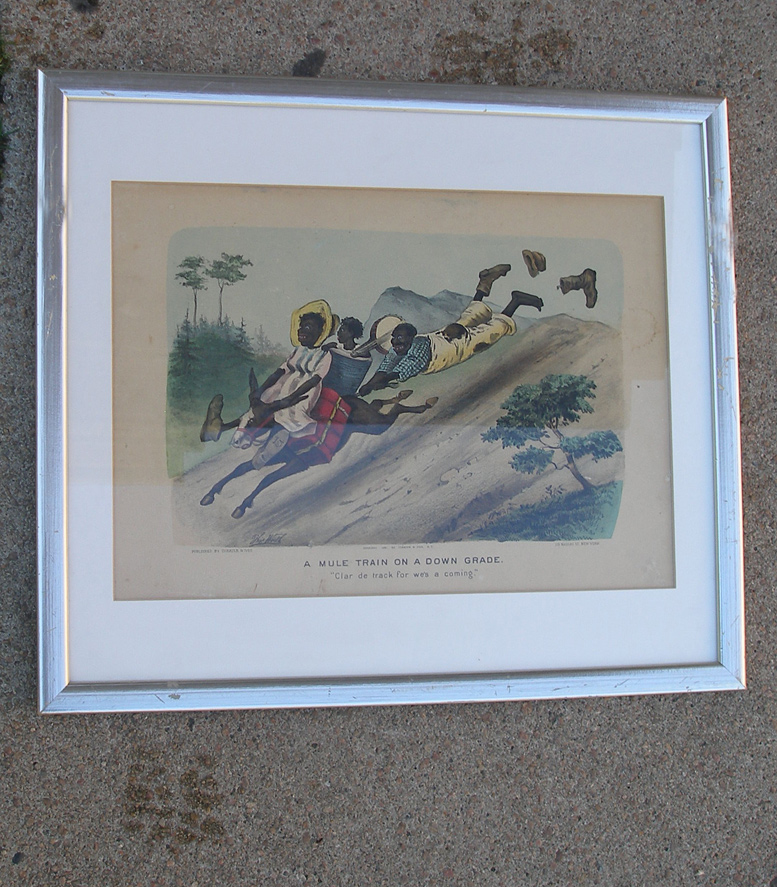 Vintage Art Original Print A MULE TRAIN ON AN UP GRADE