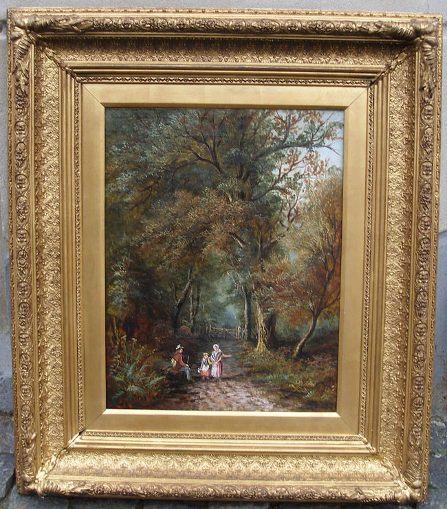 Large antique forest scene with family. 1860s. British school ...